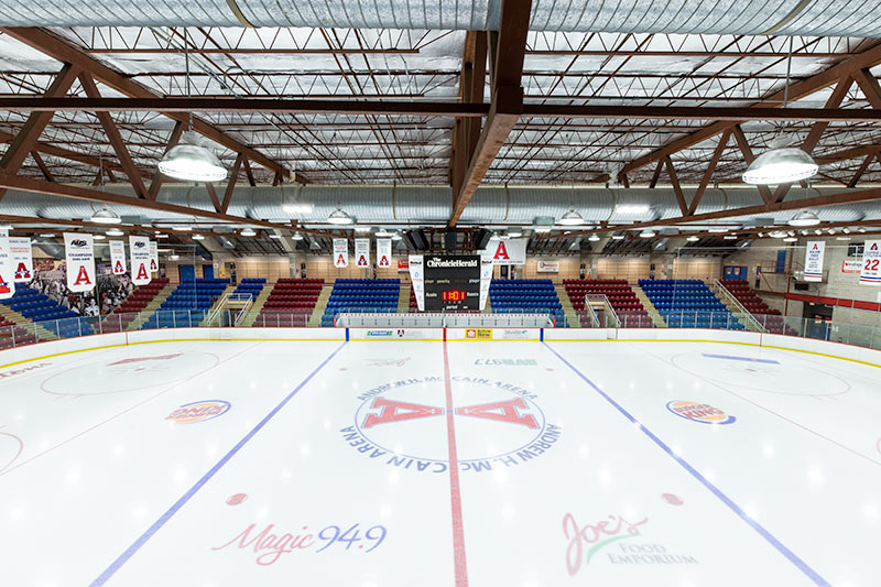 The Andrew H. McCain Arena ice surface