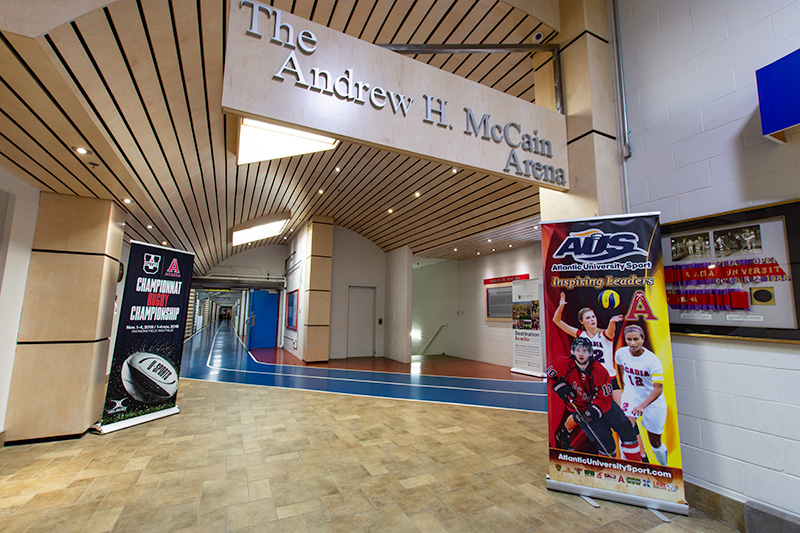 The lobby area of the Andrew H. McCain Arena